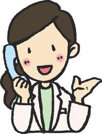 電話対応するスタッフのイラスト